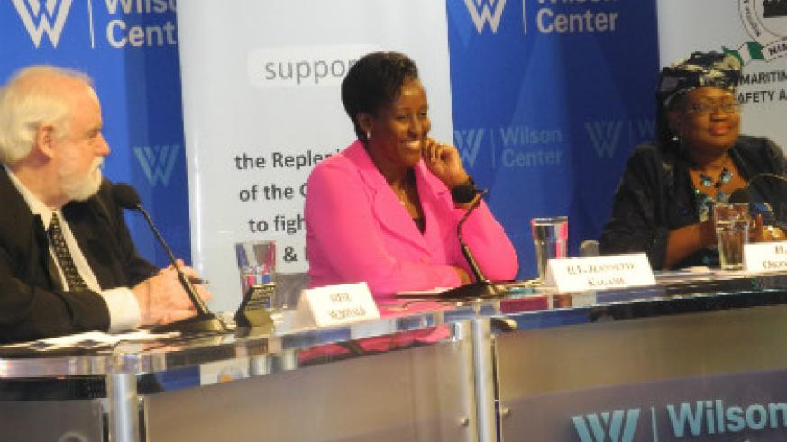 L-R: Steve MacDonald, Senior Advisor, Africa Program and Project on Leadership and Building State Capacity at the Wilson Center; First Lady Jeannette Kagame; and Nigerian Finance minister Ngozi Okonjo-Iweala in Washington D.C, yesterday. The New Times/Courtesy.