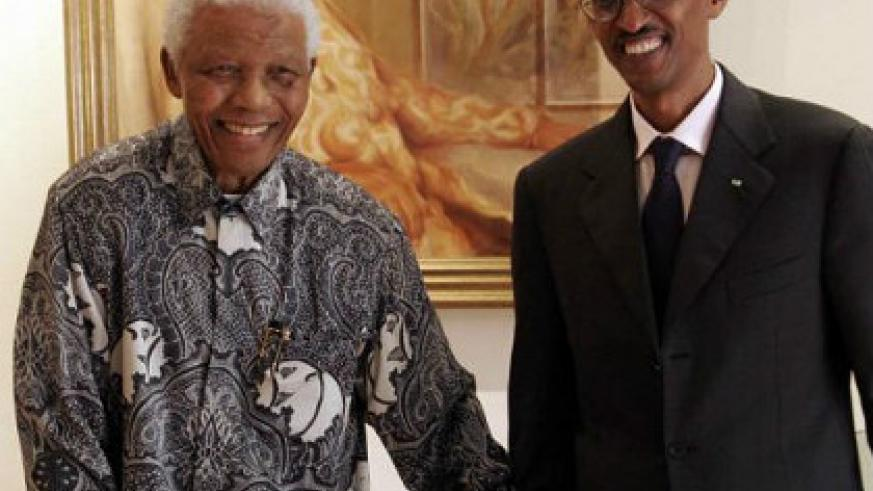 President Paul Kagame meets former South African President Nelson Mandela at the Nelson Mandela Foundation March 20, 2009, in Johannesburg, South Africa. Net photo