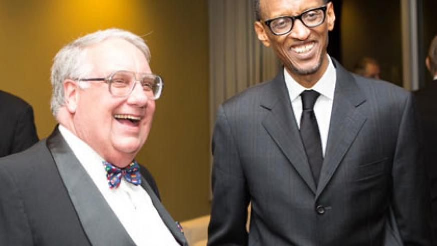 <p>President Kagame and Howard Buffett share a light moment during the International Quality of Life Award held at the UN Headquarters in New York on Tuesday. The New Times/Village Urugwiro</p>
