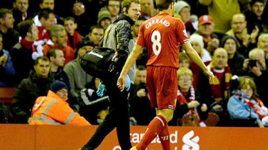 Gerrard will be out for at least four weeks with a hamstring injury, leaving the English Premier League title chasers without the England star for the busy Christmas period. Net photo
