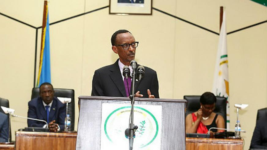 President Kagame delivers a joint State of the Nation and Year Ender address yesterday. The New Times/ V. Urugwiro.