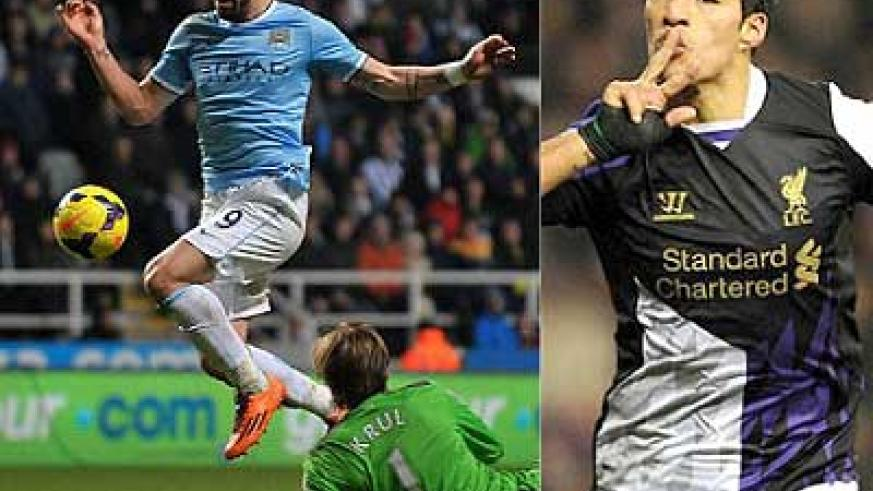 Alvaro Negredo squeezes the ball past Krul as City hit Newcastle with a late counter attack. Luis Suarez (L) scored a brace to take his tally to 21 this season. Net photos.