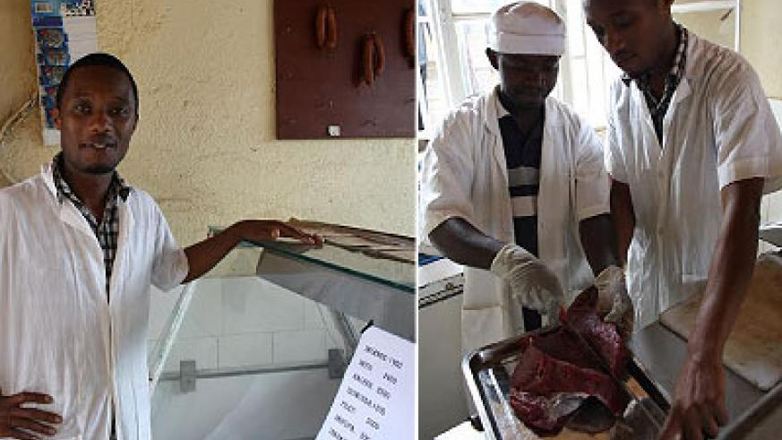 Tuyishime in his shop. Right, he is helped by one of his workers to prepare meat for processing. The New Times / P. Tumwebaze