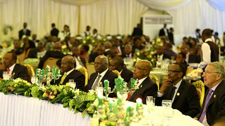 President Kagame (2nd R) with other Heads of State and Government last night in Luanda, Angola ahead of Wednesday's ICGLR summit. The New Times/Village Urugwiro
