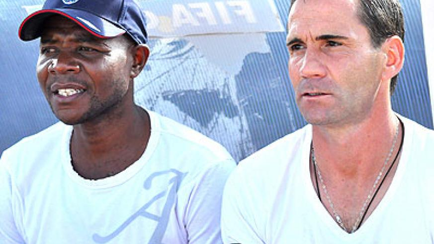 Billy Mbusa Kombi (L) joined Rayon Sports last season as Didier Gomes da Rosa's (R) assistant, now he wants the job full time. Times Sport /  P. Muzogeye