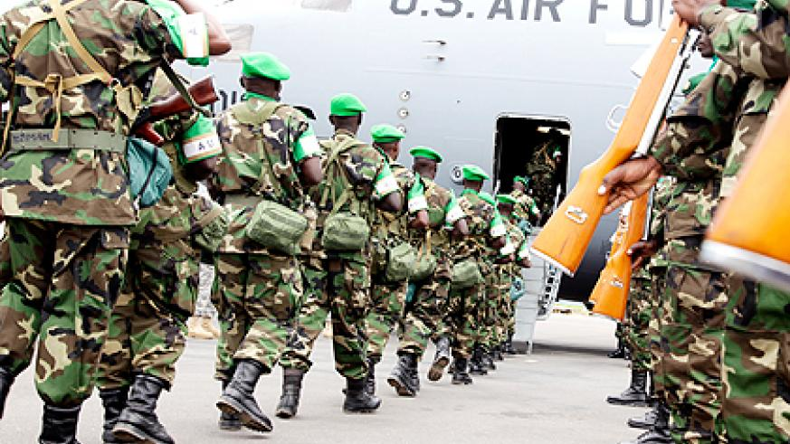 <p>The last batch of peacekeepers board a US Air Force plane for peacekeeping mission in Central African Republic yesterday. Rwanda successfully deployed its planned 850 peacekeepers to the restive country. The peacekeepers were airlifted by the US Air Force in 38 phases that began on January 16.  The New Times/ John Mbanda.</p>