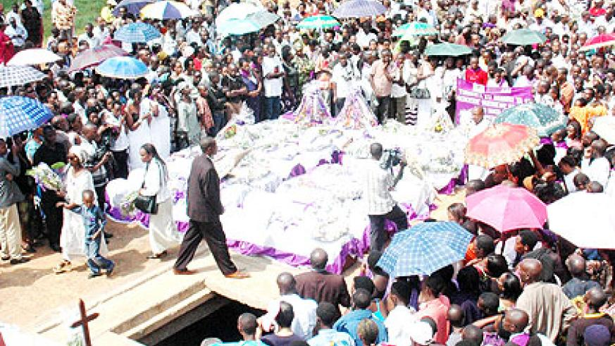 Genocide victims being given a descent burial during a past commemoration activity. The New Times/ File.