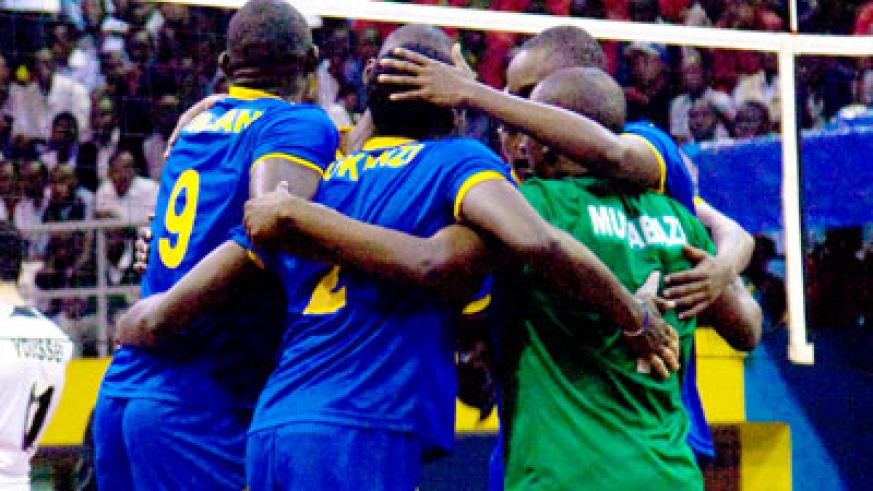 National team players celebrate after winning a point against Egypt in the Zone V World Cup qualifiers in November last year. Times Sport/Timothy Kisambira