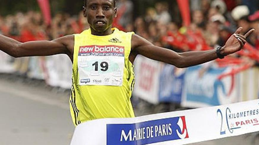 Dieudonne Disi, seen here crossing the finish line to win the Paris half marathon two years ago, is eyeing Rwanda's first Commonwealth medal. Times Sport/Courtesy