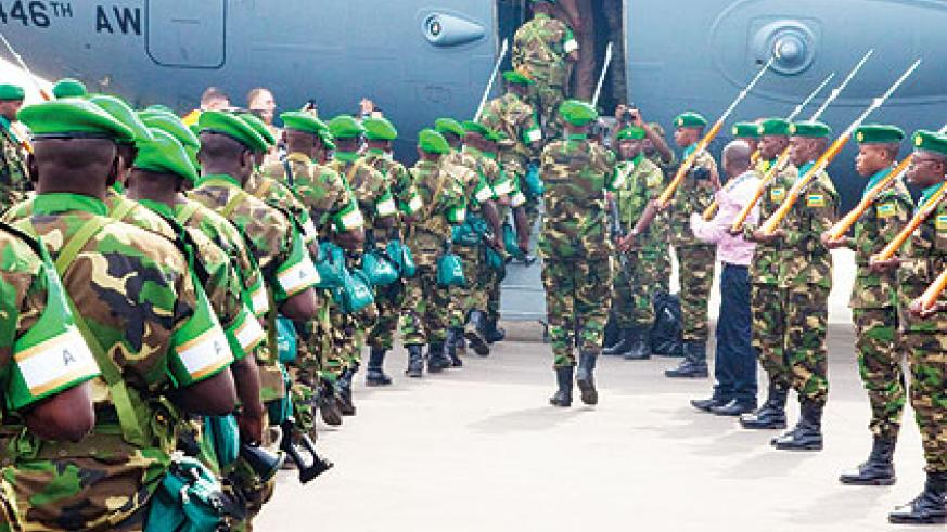 Rwandan peacekeepers leave for CAR on January 16.  African peacekeepers have a daunting task of pacifying the volatile country.  File.