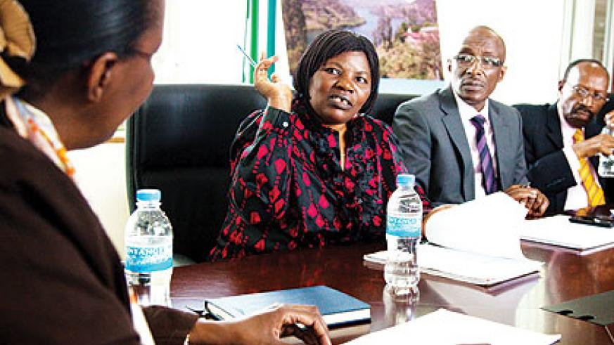 <p>The committee deputy chairperson, MP Clothilde Mukakarangwa (2nd L), along with her colleagues Sheikh Saleh Habimana (2nd R) and Emmanuel Mudidi during yesterday's meeting....