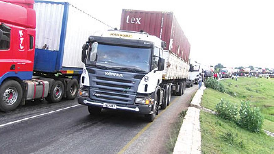 Trucks lined up at the Gatuna border recently. The truck drivers cited delays in processing documentation  as a challenge hindering free trade. File.