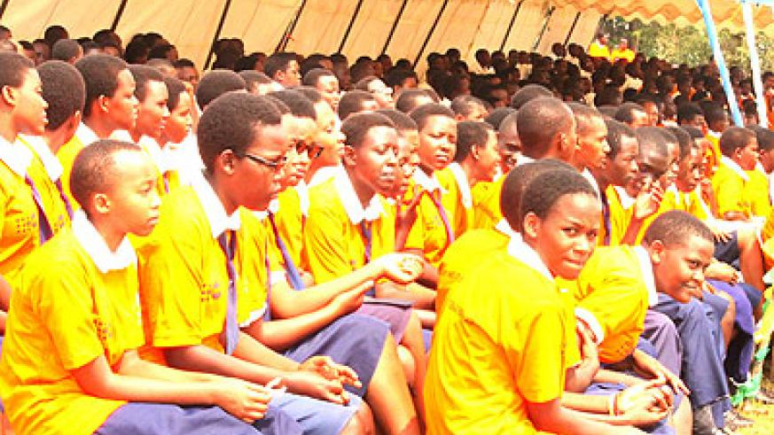 Teenage students at St. Aloys Secondary School during a past counselling session.  The government intends to make sex education compulsory in all schools.  S. Rwembeho.