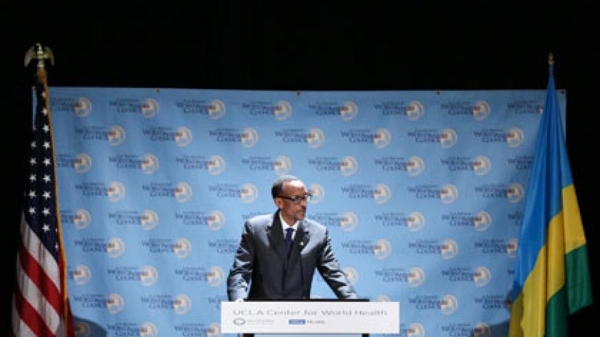 President Kagame speaks at the Los Angeles World Affairs Council on Wednesday. Village Urugwiro.