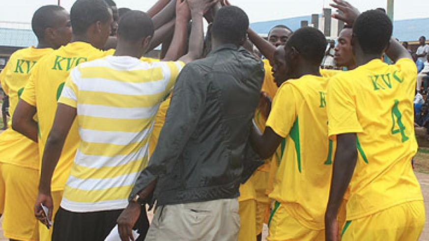 KVC players celebrate after winning the annual Father Emmanuel Kayumba memorial volleyball tournament over the weekend.