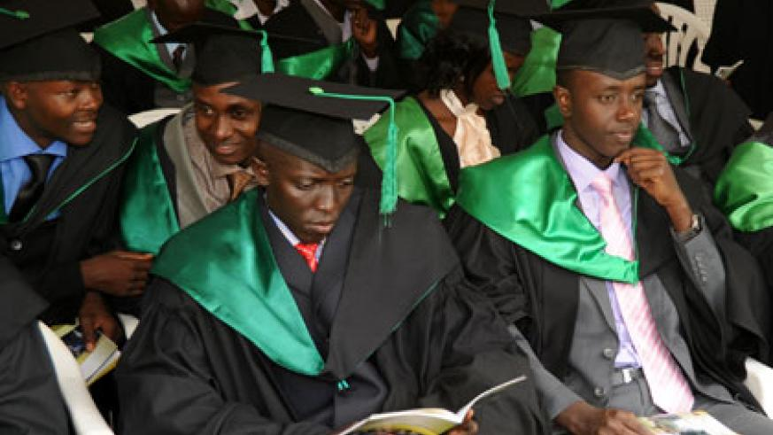 Graduands at a past function at the Rwanda University's College of Business and Economics. File .