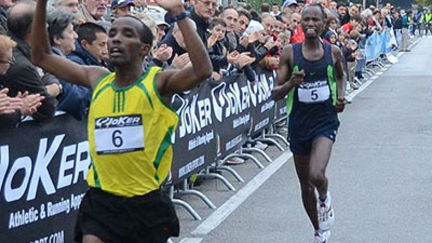 Eric Sebahire, seen here celebrating after crossing the finishing line in a past event in France. Net photo