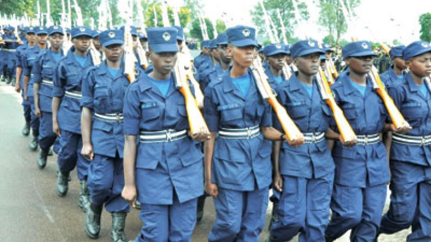 The new police constables at their pass-out ceremony in Gishari yesterday. Stephen Rwembeho.