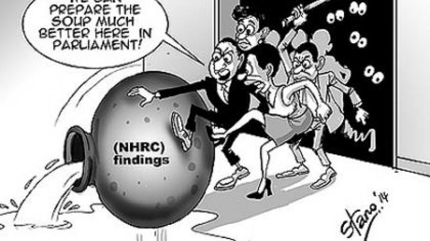 Members of Parliament on Tuesday rejected a report by the Standing Committee on Unity, Human Rights and fight against genocide, on the 2012/13 National Human Rights Commission (NHR....