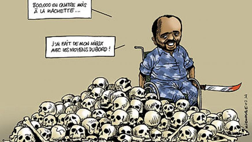 A cartoon depicting Pascal Simbikangwa bragging about his crimes.