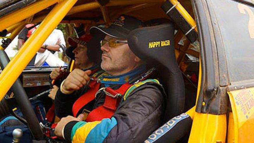 Davite Giancarlo (R) and his navigator Slyvia Vindevogel get ready to be flagged off for Saturday's action in  Bandama rally. Courtesy.