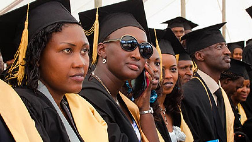 Some of the female graduates at the ceremony yesterday. Timothy Kisambira.