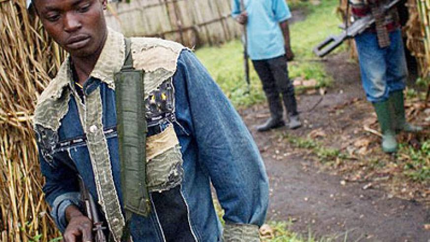 Some FDLR militiamen at their base in Eastern DRC. File.