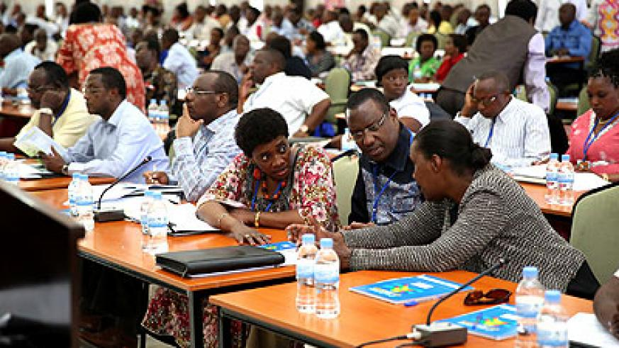 Some of the Cabinet ministers at the 11th National Leadership Retreat in Gabiro on March 10. Courtesy.