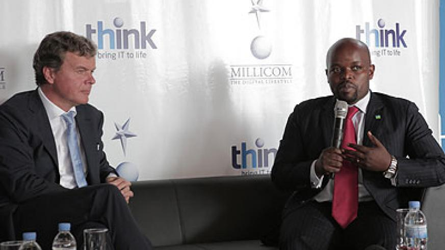 Minister Nsengimana with Hans-Holger Albrecht during the launch of 'Think.' (Courtesy)