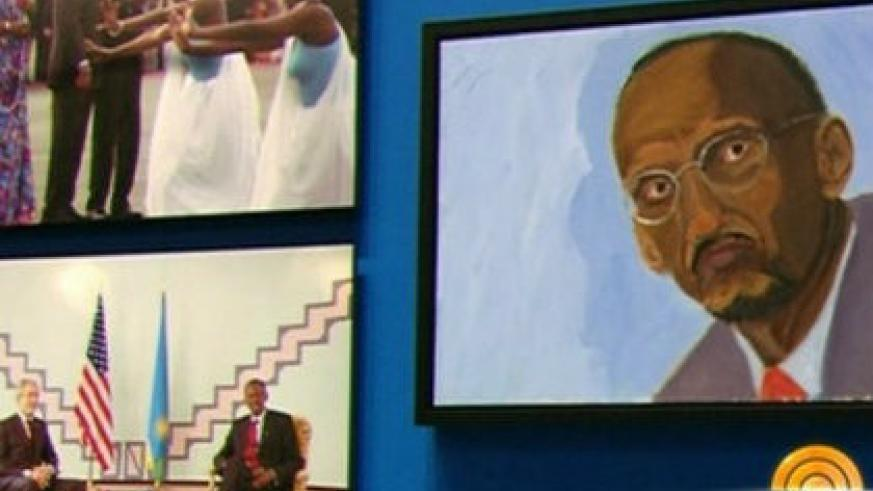 Kagame's portrait painted by former US President George Bush. (Courtesy)