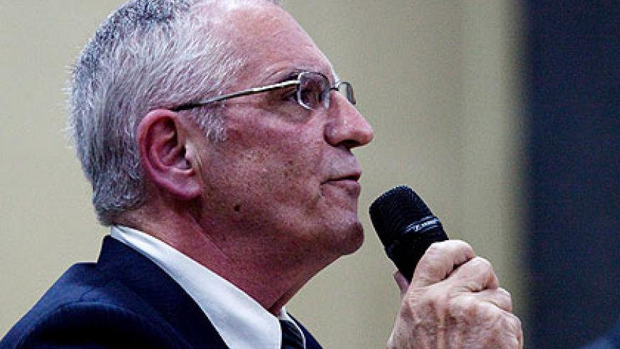 Gauthier addresses an international forum on Genocide at Parliament Buildings in Kigali last week. (Timothy Kisambira)
