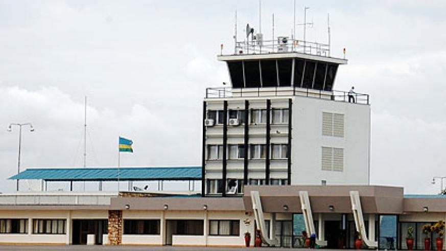 Traffic control tower at Kigali International Airport. Air traffic safety at the facility has been enhanced with the acquisition of digital navigator. File.