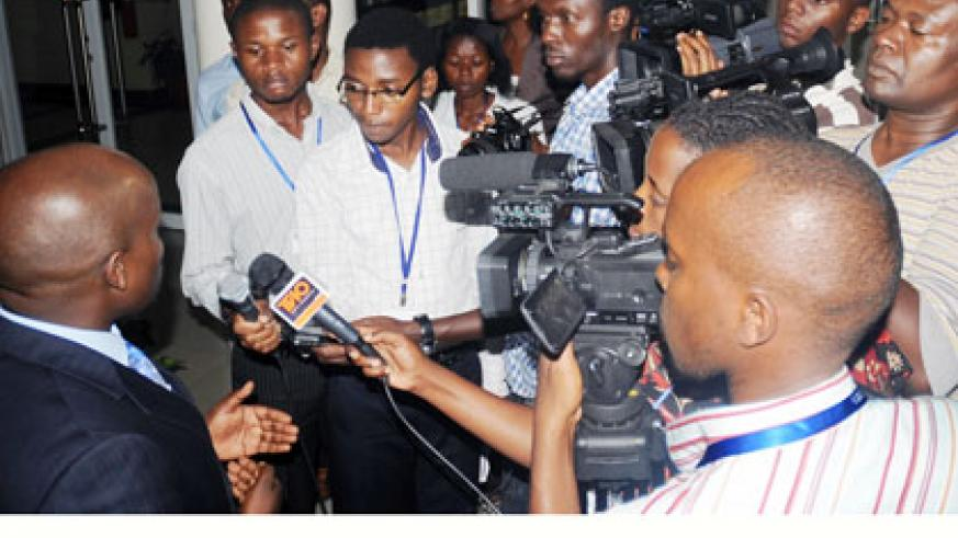 Journalists during an interview with Youth and ICT minister Jean Philbert Nsengimana. File.