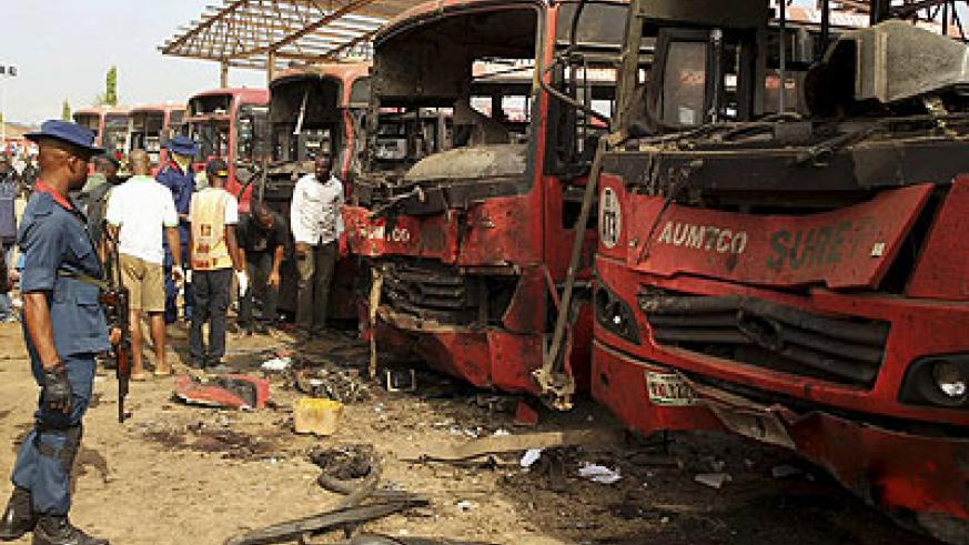 The explosions were powerful, destroying a number of vehicles at Nyanya Motor Park. Net photo.