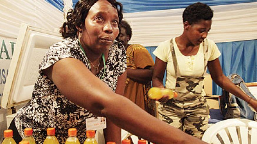A juice maker from Gakenke at an exhibition. The forum will focus on job-creation.