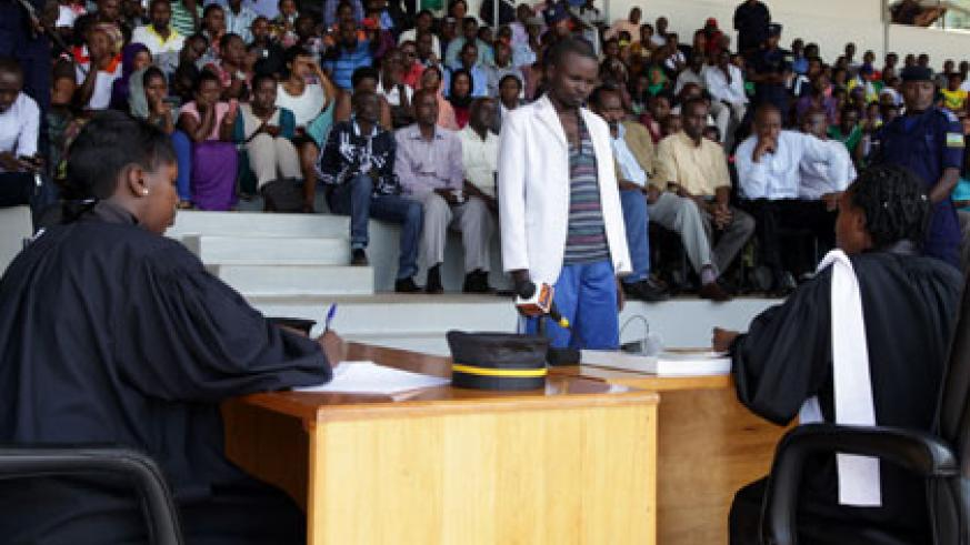 Sylvestre Hora, a former house-help charged with murder for the killing of Shalom 'Bella' Uwase, last month, appears before a public hearing by Nyarugenge Intermediate Court si....