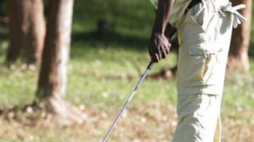 Emmanuel Ruterana, seen here in a previous local golf event, will be up against strong competition in the Kabale Easter Golf Open. File.