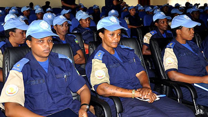 The female officers who returned from peacekeeping mission in Darfur, during a debriefing at the RNP headquarters in Kacyiru. Timothy Kisambira.
