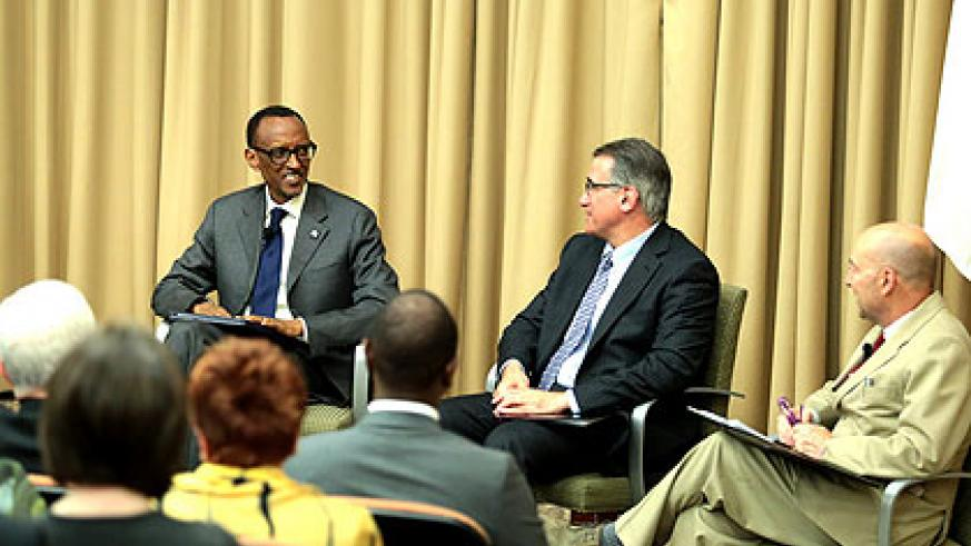 President Kagame during the lecture at Tufts University. (Village Urugwiro)