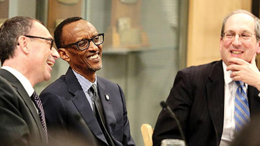 President Kagame shares a light moment with the top brass of Brandeis University, Boston in the United States yesterday. (Village Urugwiro)