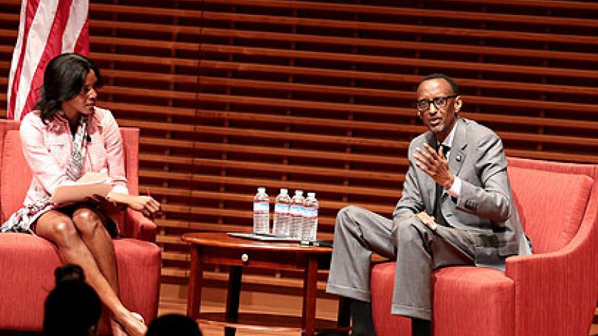 President Kagame with Professor Renee Bowen during Stanford Global Speaker Series interactive discussion. (Village Urugwiro)