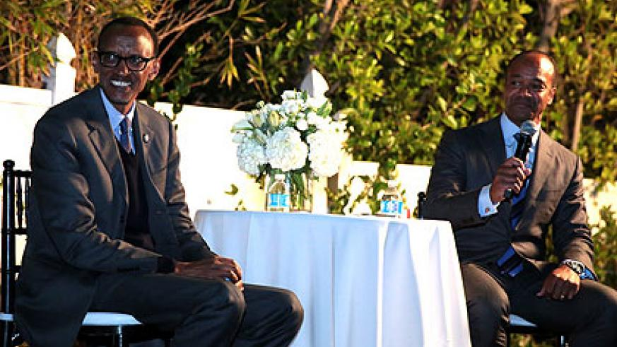 President Kagame with Ambassador Pierre Prosper during the evening reception in Los Angeles, hosted by Gen Next, on Monday. (Village Urugwiro)