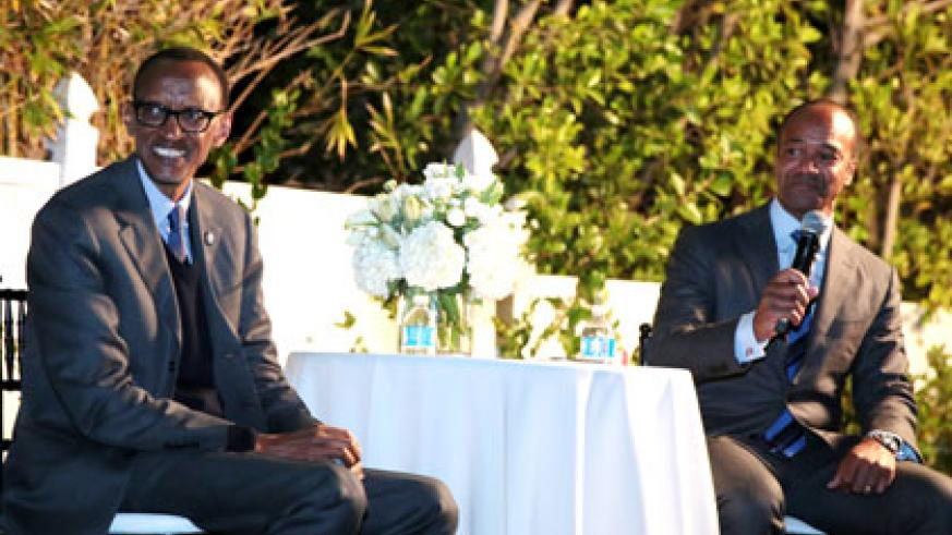 President Kagame with Pierre Prosper, former US Ambassador-at-Large for War Crimes, during an evening reception hosted by GenNext at the Milken Institute Global Conference in Los Angeles, US.  Village Urugwiro.