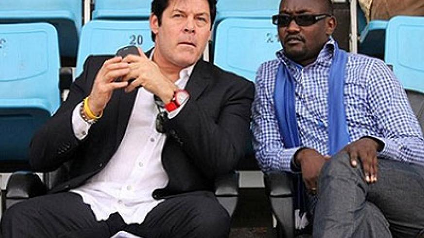 Rayon Sports Coach Luc Eymael and Secretary General Olivier Gakwaya (R) have had their penalties reduced by a Ferwafa appeals committee. File