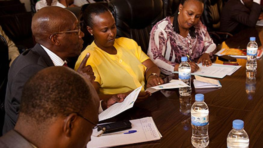 Members of the Parliamentary Committee on National Budget and Patrimony in a discussion on Wednesday. Samantha Halyk.