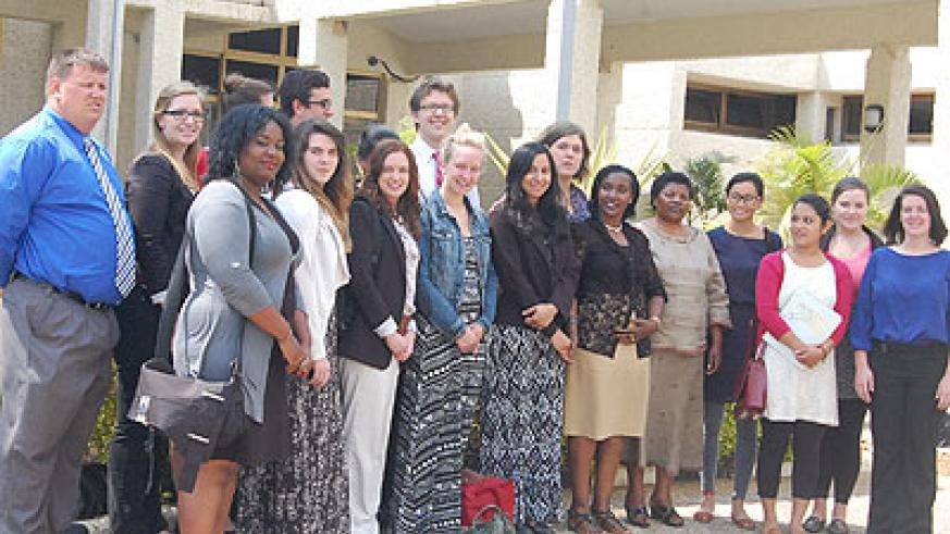 Students from Indiana University, pose in a group photo with members of Parliament. Courtesy.