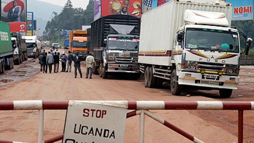 Trucks wait to cross into Uganda at Gatuna. File.