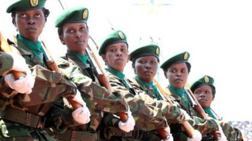 Women soldiers during a parade to mark the 20th Liberation Anniversary on Friday. (Village Urugwiro)