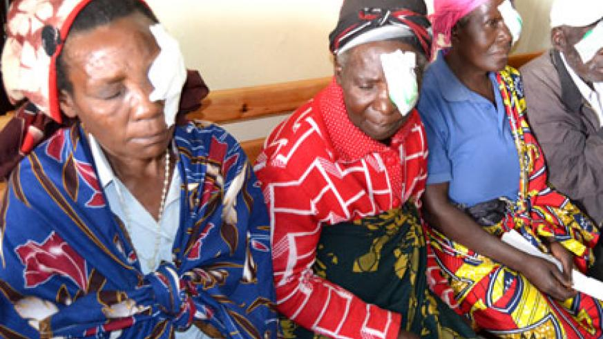Some of patients after the eye surgery. Most of them regained sight after years of blindness. (Jean d'Amour Mbonyinshuti)