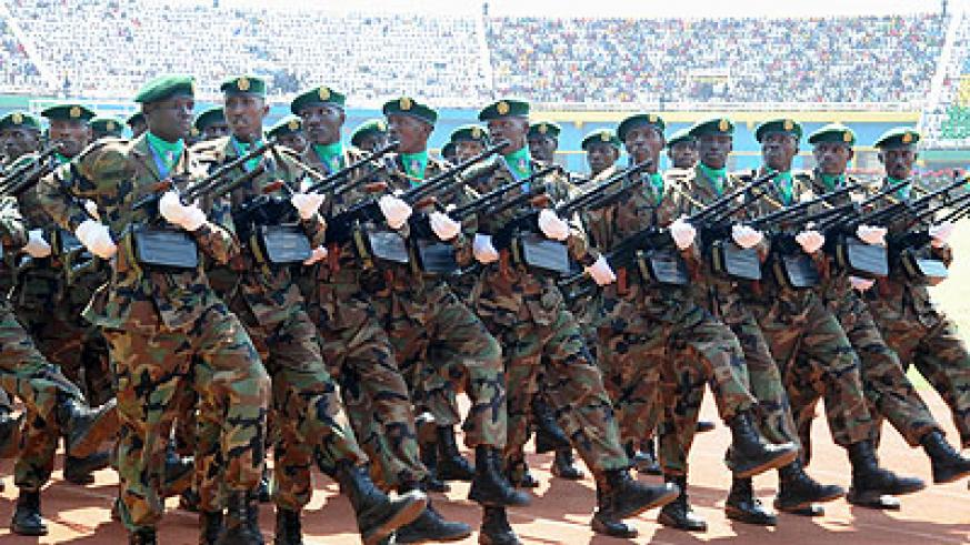 RDF troops march during a Liberation Day celebration event. File.